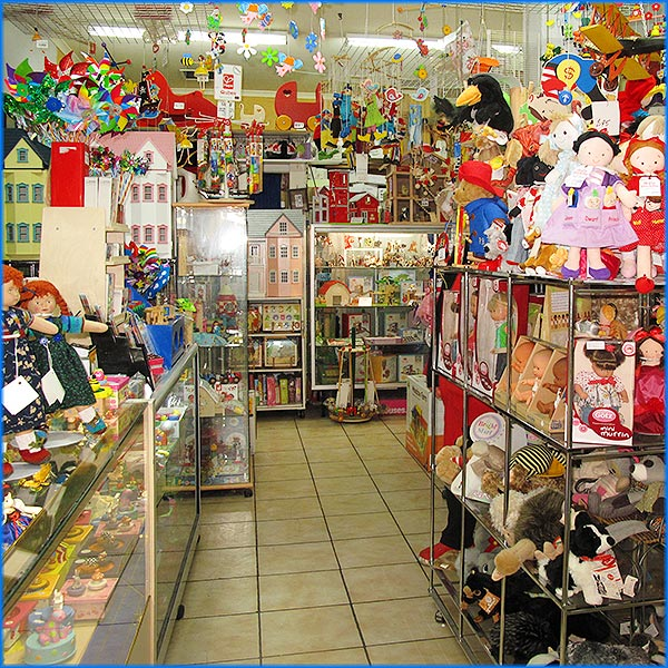 Old-fashioned toy shop, classic toys
